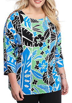 Ruby Rd Plus Geo Graphic Cold Shoulder Dolman Knit