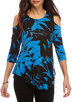 Ruby Rd Petite Geo Graphic Rayon Leaf Print Cold Shoulder