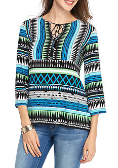 Ruby Rd Petite Geo Graphic Tassel Bell Sleeve Top