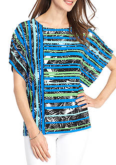 Ruby Rd Petite Geo Graphic Mix Stripe Knit Top