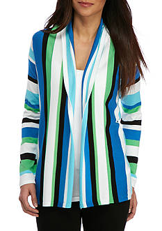 Ruby Rd Petite Geo Graphic Stripe Cardigan