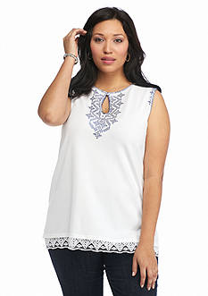 Ruby Rd Plus Size Corsica Embellished Sweater Tank