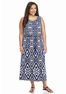 Ruby Rd Plus Size Corsica Sleeveless Printed Dress