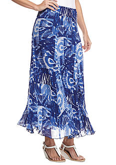 Ruby Rd Petite Corsica Printed Pleated Maxi Skirt