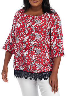 Ruby Rd Plus Size Floral Blouson Sleeve Top