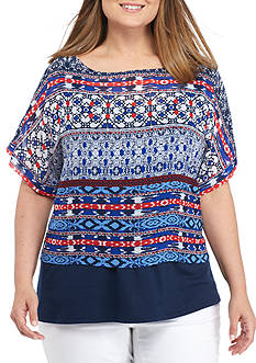 Ruby Rd Plus Size Printed Chiffon Popover Top