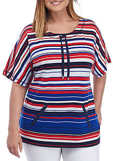 Ruby Rd Plus Size Striped Dolman Sleeve Top