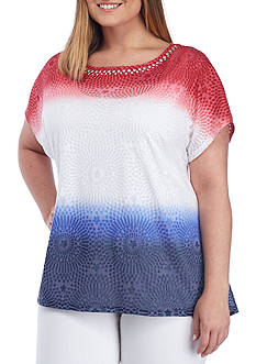Ruby Rd Plus Size Shark-Bite Ombre Knit Top