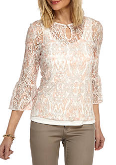 Ruby Rd Desert Rose Printed Lace Top