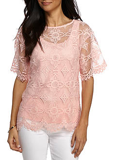 Ruby Rd Desert Rose Lace with Scallop Trim Top