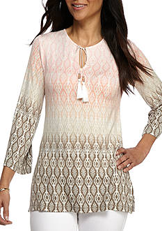Ruby Rd Desert Rose Three Quarter Bell Sleeve Ombre Print Tunic
