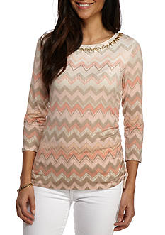 Ruby Rd Desert Rose Embellished Side Ruched Chevron Print Top