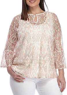 Ruby Rd Plus-Size Floral Lace 3/4 Sleeve Flounce