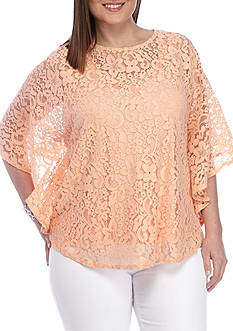 Ruby Rd Plus-Size Desert Rose Butterfly Floral Lace Top