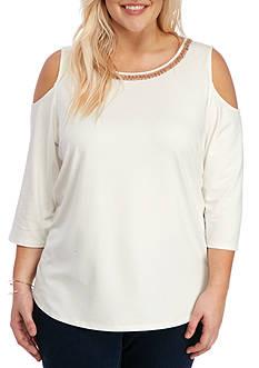 Ruby Rd Plus Size Embellished Cold Shoulder Top