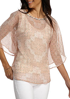 Ruby Rd Petite Desert Rose Embellished Butterfly Woven Blouse