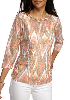Ruby Rd Petite Desert Rose Embellished Side Ruched Texture Top