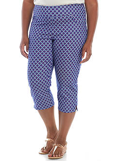 Ruby Rd Plus Size Printed Denim Capri