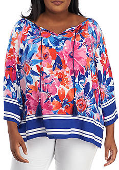 Ruby Rd Plus Size Floral Side Slit Tunic