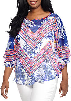 Ruby Rd Plus Size Butterfly Sleeve Printed Blouse