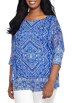 Ruby Rd Plus Size Printed Woven Top