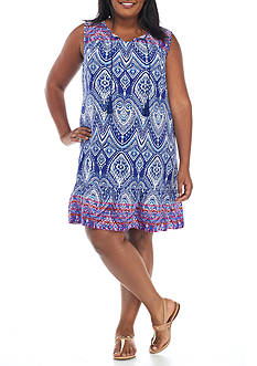 Ruby Rd Plus Size Printed Tie Neck Dress