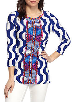 Ruby Rd Petite Viva Antigua Placement Print Tee