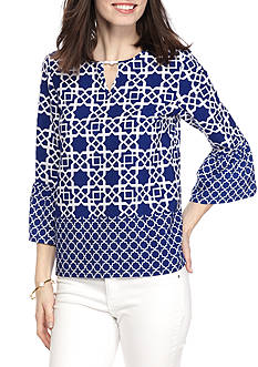 Ruby Rd Cabana Cool Print Bell Sleeve Tunic