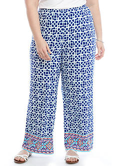 Ruby Rd Plus-Size Cabana Cool Geometric Print Soft Pants