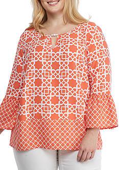 Ruby Rd Plus-Size Cabana Cool Geometric Print Flounce Sleeve Crepe Top