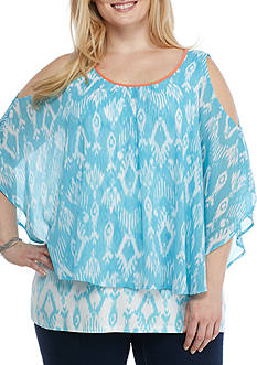 Ruby Rd Plus Size Cabana Cool Cold Shoulder Top
