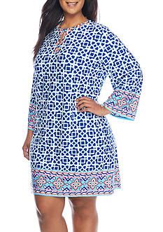 Ruby Rd Plus-Size Cabana Cool Geometric Print Short Shift Dress