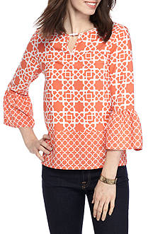 Ruby Rd Petite Cabana Cool Print Bell Sleeve Tunic