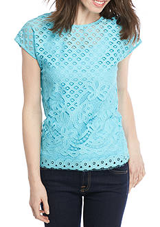 Ruby Rd Petite Cabana Cool Lace Overlay Top