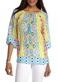Ruby Rd Petite Cabana Cool Tassel Print Tunic