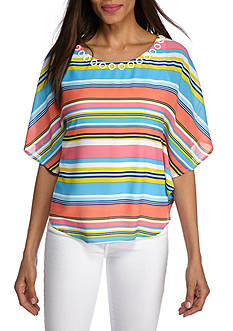 Ruby Rd Petite Cabana Cool Butterfly Stripe Top