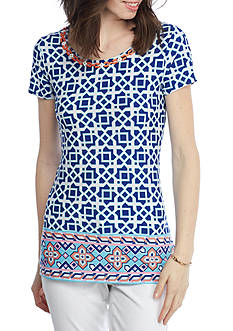 Ruby Rd Petite Cabana Cool Geo Print Sharkbite Top