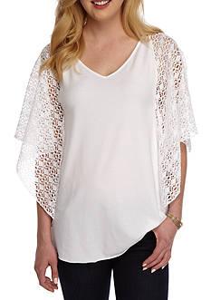 Ruby Rd Petite Cabana Cool Crochet Sleeve Circle Top