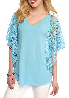 Ruby Rd Petite Cabana Cool Crochet Sleeve Circle Top