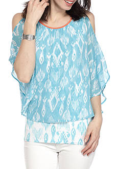 Ruby Rd Cabana Cool Printed Yoryu Cold Shoulder Blouse