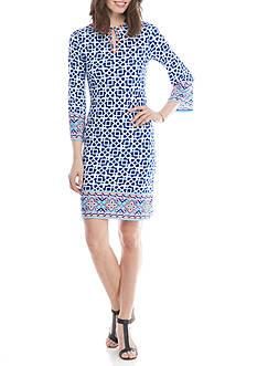 Ruby Rd Petite Cabana Cool Geo Print Short Shift Dress