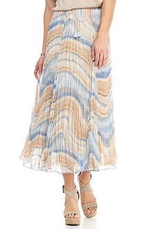 Ruby Rd Blue Travelers Print Crinkle Yoryu Skirt