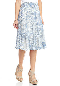 Ruby Rd Blue Travelers Burnout Skirt