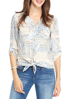 Ruby Rd Blue Travelers Tie Front Paisley Print Top