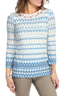 Ruby Rd Blue Travelers Crochet Boatneck Print Knit Top