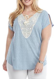 Ruby Rd Plus-Size Blues Traveler Knit Top with Tassel Embroidered Neckline