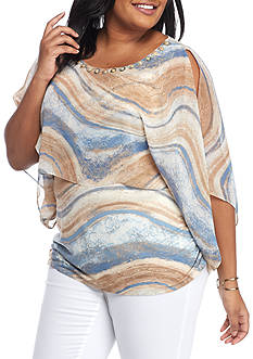 Ruby Rd Plus Size Blues Traveler Butterfly Overlay with Ruched Side Top