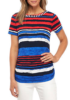 Ruby Rd Striped Knit Top with Beaded Neckline