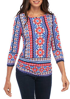 Ruby Rd Tile Printed Ruched Knit Top