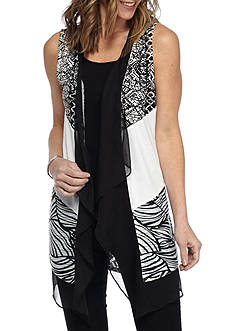 Ruby Rd High Contrast Mix Media Lace Vest